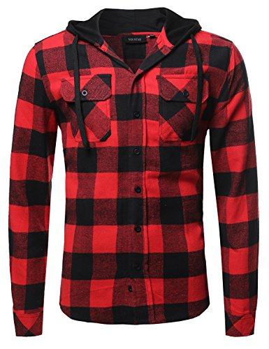 Plaid Attachable Hoodie Flannel Shirt Black Red Size L - Red Plaid Jacket