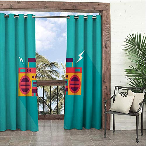 Linhomedecor Balcony Waterproof Curtains Music Ghetto Blaster Audio Old School Boombox a Long Shadow Turquoise Marigold Coral Dark Purple Porch Grommets Parties Curtain 72 by 72 inch