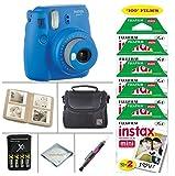 Fujifilm Instax Mini 9 Instant Camera (Cobalt Blue) + Fujifilm Instax Instant Film 100 Sheets + 4 Batteries & Charger + Photo Album +Convenient Case + MORE