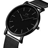 Zeiger Men Watches Stainless Steel Black Dial Analog Quartz Watch Fashion Casual Business Watch for Men Women (Black)
