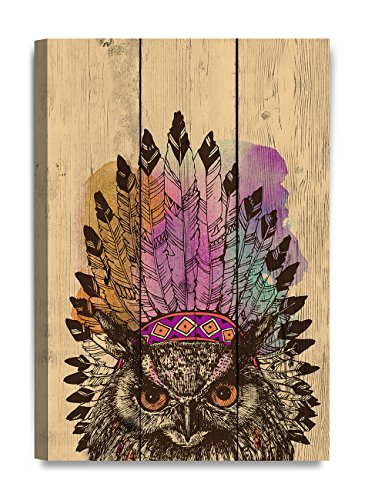 Indian Eagle (DecorArts - Canvas Prints Wall Art - Eagle owl in an Indian headdress leader on Vintage wooden background .Giclee Print on Canvas for Wall Decor. 18X12x1.5