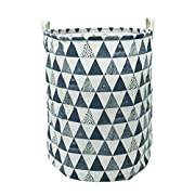 CLOCOR Large Storage Bin-Cotton storage Basket-Round Gift Basket with Handles for Toys,Laundry,Baby Nursery (Blue triangle)
