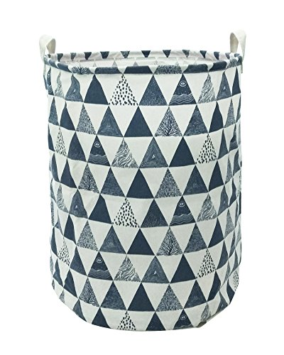 Canvas Round Basket - CLOCOR Large Storage Bin-Cotton storage Basket-Round Gift Basket with Handles for Toys,Laundry,Baby Nursery (Blue triangle)
