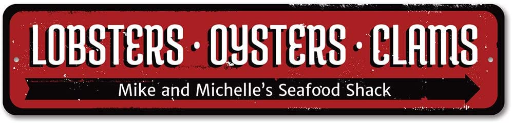 """Seafood Shack Sign, Lobsters Oysters Clams Sign, Kitchen Sign, Beach Kitchen Decor, Beach Aluminum Sign - 6"""" x 24"""""""