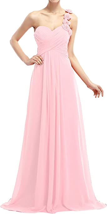 New One Shoulder Flower Chiffon Formal Evening Prom Party Gown Bridesmaid Dress