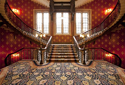 Yeele 7x5ft Vinyl Photography Background Front Staircase Patterned Carpet Luxurious Interior Wall Lamp Photo Backdrops Pictures Studio Props Wallpaper