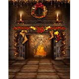 5x7ft Vintage Room Christmas Gift Sock Fireplace Photography Background Computer-Printed Vinyl Backdrops