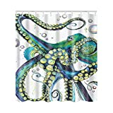 Animal Print Shower Curtain Artown Octopus Shower Curtain, Mint Green Jellyfish Ocean Animal Kraken with Tentacles Peculiar Hand Drawing Effect Print, Durable Fabric Bathroom Decor Set with 12 PVC Hooks,72 x 72 Inches Long