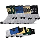 Soxnet Eco Friendly Heavy Weight Recyled Cotton Thermals Boot Socks 4 Pairs (10-13, Animal Design)