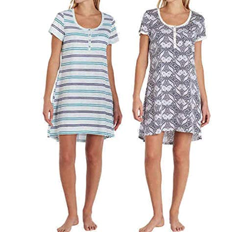 - Lucky Brand Womens 2 Pack Henley Sleepshirts Green Stripe and Navy Paisley Small