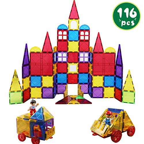 Romboss 116 Pcs Magnetic Tiles Set Includes 2 Cars STEM 3D Magnets Building Blocks Preschool Educational Toys for Children Kids Toddler ()