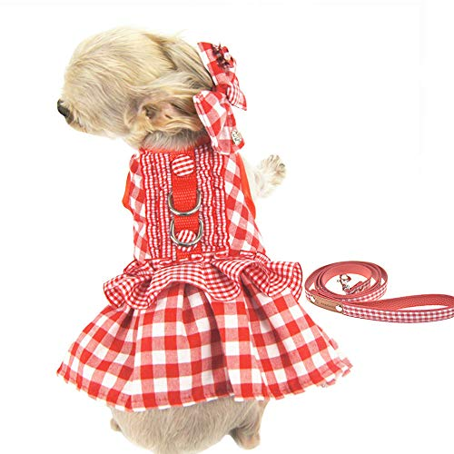 FLAdorepet 3Pcs Dog Pet Cat Dress Harness and Leash Set Small Dog Clothes Shirt Costume Dog Skirt,Dress,Hair Bow (S, Red) ()
