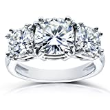 Cushion Forever One GHI Moissanite 3 Stone Engagement Ring 4 1/5 CTW in 14k White Gold