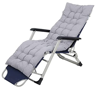 Patio Chaise Lounger Cushion,Zero Gravity Chair Cushion,Outdoor Indoor Lounge Patio Chairs Cushion,Adjustable Folding Yard Pool Recliner Folding Lounge Chair Cushion for Beach Garden Yard Deck (Gray): Kitchen & Dining