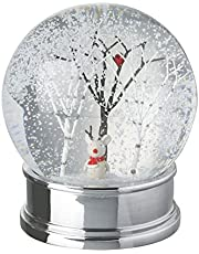 Little cat and robin . Heaven Sends White Christmas Snow Globe