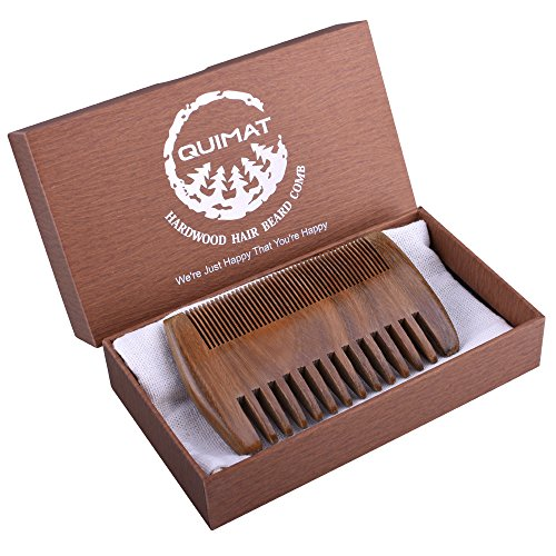 Quimat Wood Comb,Handmade Natural Green SandalWood Comb with Anti-Static  No Snag with of Wide  Fine Teeth for Head Hair, Beard, Mustache with Premi…