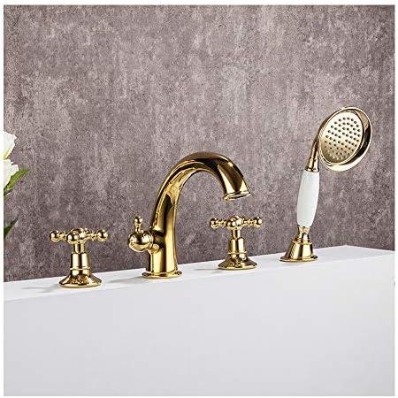 金のグースネックの浴槽の蛇口温水と冷水4穴のバスルームの浴槽の蛇口デッキマウントバスシャワーミキサータップハンドヘルドシャワー付き