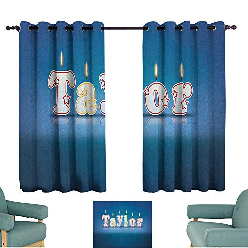 """Price comparison product image ParadiseDecor Taylor, Grommet Top Drapes Common Given Name in English Happy Occasion Candles Font Design on Blue 42""""X45"""" Kids Backout Curtains for Bedroom"""