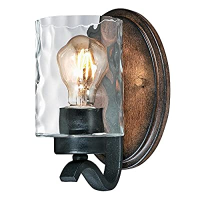 Westinghouse Lighting 6331600 Barnwell One-Light Indoor Wall Fixture, Textured Iron and Barnwood Finish with Clear Hammered Glass, 1