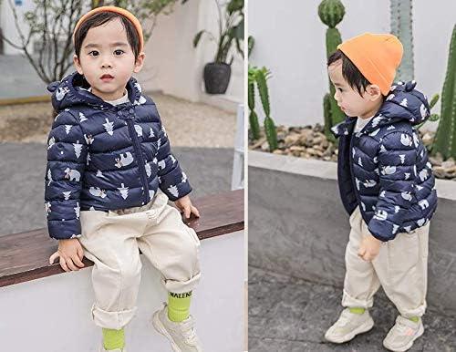 FEOYA Unisex Baby Winter Down Coat Puffer Jacket Cute Bear Hooded Windproof Outwear Snowsuit