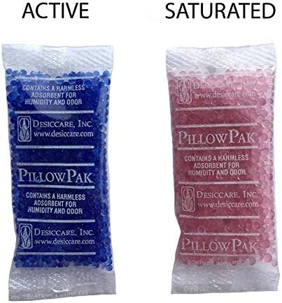 Rechargeable BT-50 Paper Translucent Desiccant Packets and Dehumidifiers 4.5 Cubic Ft//Packet INTERTECK PACKAGING 60 Gram Silica Gel Packets Indicating, 8 Pack Blue to Pink