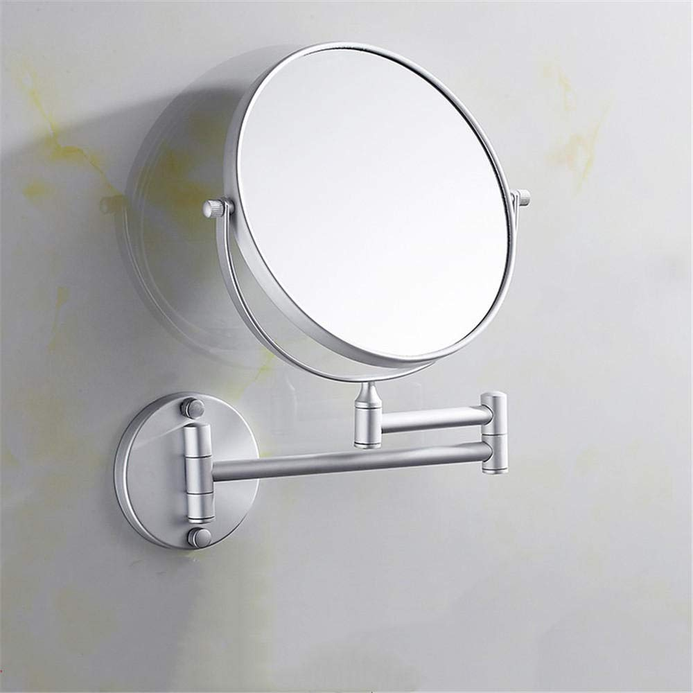 Bathroom Activity Makeup Mirror Triple Zoom Wall-Mounted Folding Telescopic Dresser 8-Inch Rotating Mirror@Matt