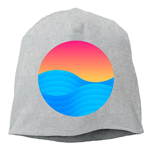 d Color Sea Wave Graphic Design Wool Hat for Unisex Ash One Size ()