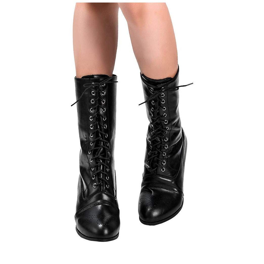 Women Pointed Toe Lace Spike Heels Punk Med Heels Ankle Boots Shoes Black by Frunalte Women Shoes
