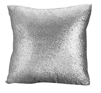 Silver Sequin Decorative Pillow