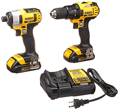 DEWALT DCK280C2 20-Volt Max Li-Ion 1.5 Ah Compact Drill and Impact Driver Combo Kit (Dewalt Driver And Drill)