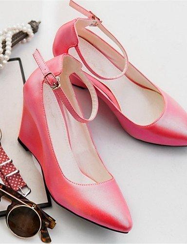 ShangYi Damenschuhe-High Heels-Hochzeit / Lässig / Party & Festivität-Kunstleder-Keilabsatz-Wedges-Rosa / Rot / Weiß / Mandelfarben Red