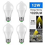 Cheap DDSKY 4-Pack LED Sensor Light Bulbs 12W Dush to Dawn Smart Lighting Bulbs, Auto On/Off E27 Base Lamp Bulbs, 1020lm Daylight Warm White 3000K, AC 85-265V