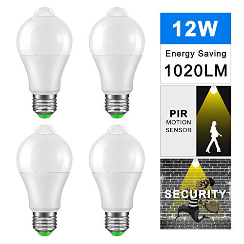 DDSKY 4-Pack LED Sensor Light Bulbs 12W Dush to Dawn Smart Lighting Bulbs, Auto On/Off E27 Base Lamp Bulbs, 1020lm Daylight Warm White 3000K, AC 85-265V