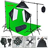 Linco Lincostore 2400 Watt Photo Studio Lighting 10x20ft Green Backdrop Photography Background Stand Light Kit AM144-G