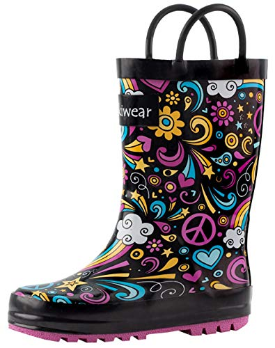 OAKI Kids Rubber Rain Boots with Easy-On Handles, Peace, Love & Rainbows, 5T US Toddler