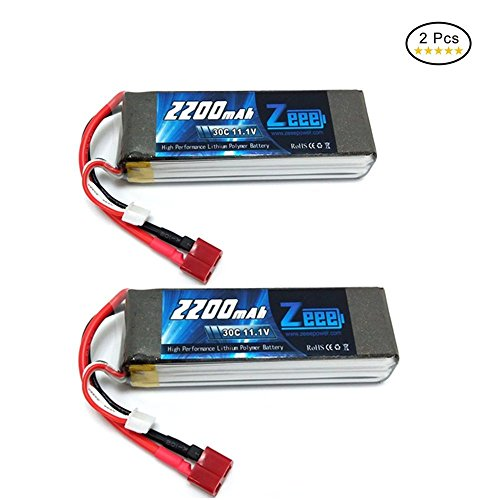 Zeee 3S Lipo Battery 11.1V 30C 2200mAh RC Batteries with Deans T Style Connector for RC Quadcopter Helicopter Airplane Multi-Motor Hobby DIY Parts(2 - Battery 2200 Rc Mah