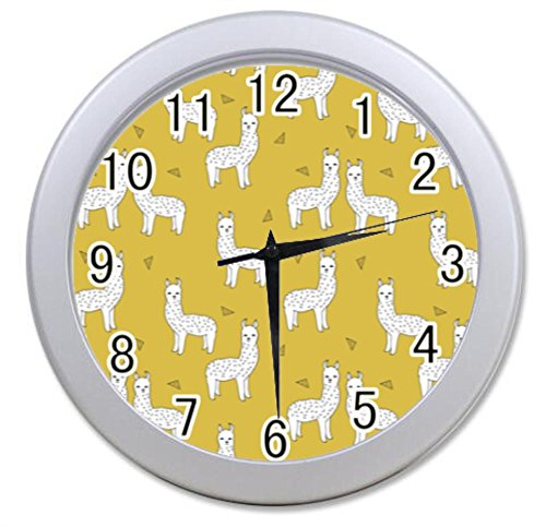 Dong Cun Bai Hipster Llama Lama Personalized Custom Alarm Clock Children Bedroom Custom Wall Clock Black Unique Custom Wall Clock