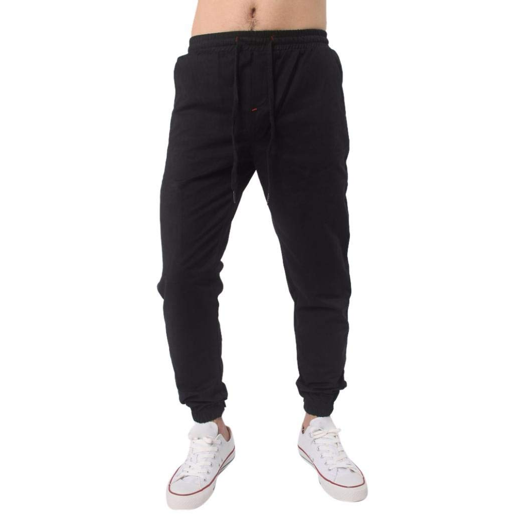 Realdo Clearance, Men Trousers Solid Sweatpants Slacks Casual Elastic Waist Jogger Pant Comfy (Medium,Black)