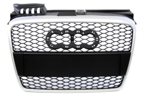 RS Style Front Grille Black Mesh with Silver Edge Replacement for 06-08 Audi A4 B7 07