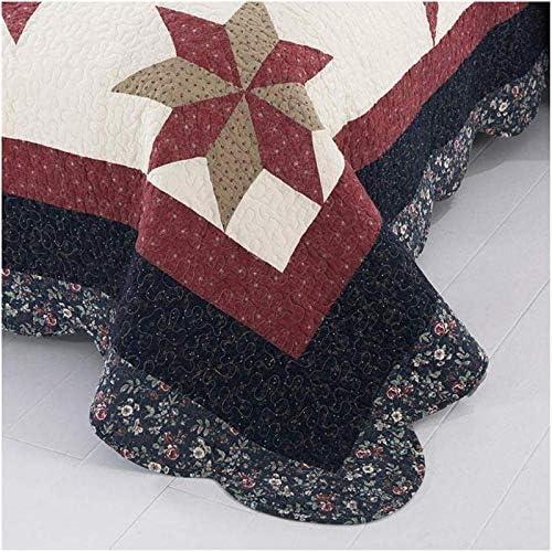 ZXLRH Couvre-lit matelassé 100 % coton, couvre-lit patchwork de style campagnard