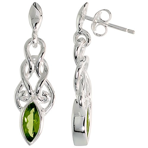 Sterling Silver Celtic Knot Earrings Genuine Gemstone Dangle Post Flawless Finish 1 1 4 inch