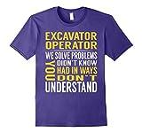 Mens Excavator Operator Solve Problems TShirt Medium Purple