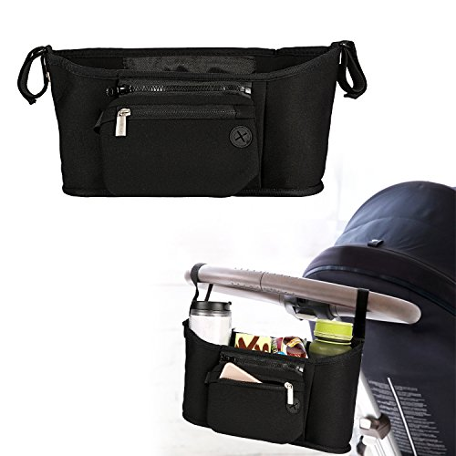 Baby Stroller Organizer Diaper Stroller Bag with 2 Carry Hooks, 3 Cup Holders,Detachable Wristlet, Stroller Accessories for Toys Milk Bottles Diapers and Wipes (Black) by Kissfairy