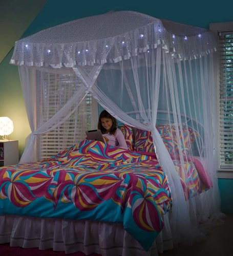 Hearthsong 174 Sparkling Lights Hanging Bed Canopy Play Tent