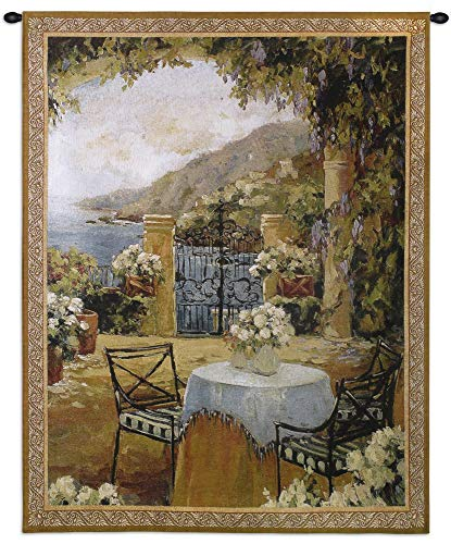 Seaside Terrace | Woven Tapestry Wall Art Hanging | Impressionistic European Seaside Floral Villa Scene | 100% Cotton USA Size 53x41 ()