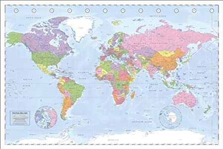 Pyramid international miller projection political world map maxi pyramid international quotmiller projection political world mapquot maxi poster multi colour gumiabroncs Images