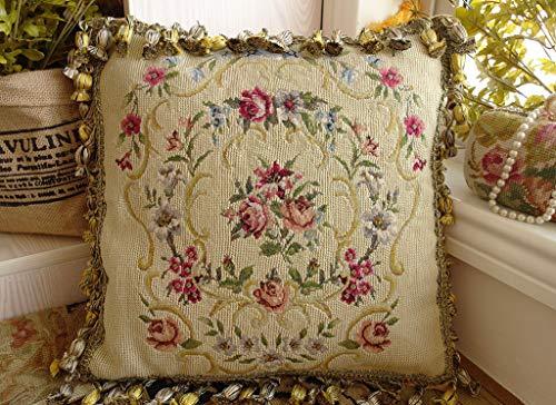 Petite Bouquet Pattern - Floral Garland Rose Bouquet Yellow Needlepoint 20K Petit Point Pillow Sham