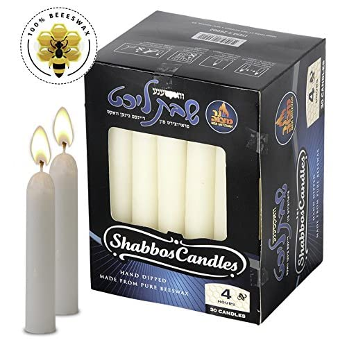 White Beeswax Shabbat Candles – Hand Dipped, Unb big image