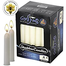 White Beeswax Shabbat Candles – Hand Dipped, Unbleached Traditional Shabbos Candles - 30 Pack - 4 Hour Burn Time - by Ner Mitzvah