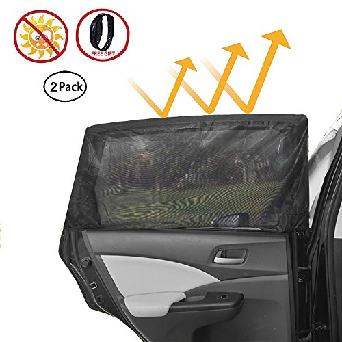 Car Window Shade, VILLSION Universal Fit Truck Jeep SUV Car Rear Window Sun Shade for Baby Breathable Mesh Sunshade Protect Baby/Pet from UV Rays, 2 Pack